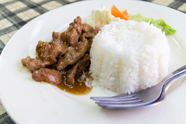 Fried Teriyaki Pork with rice