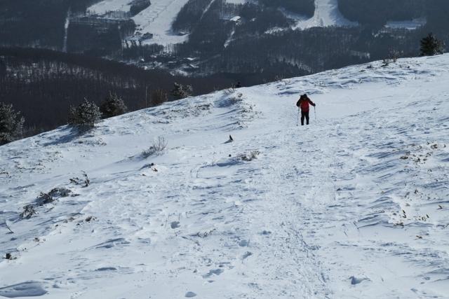 湯ノ丸山を登る登山者