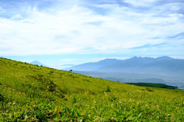 車山登山道からの富士山と南アルプス