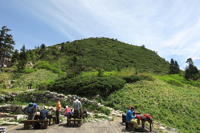 西穂山荘からの登り