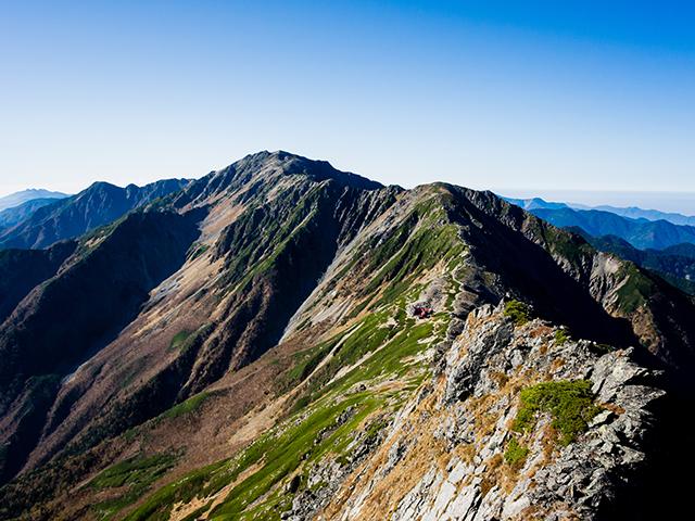 北岳からの間ノ岳と農鳥岳