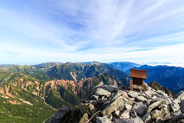槍ヶ岳山頂からの眺め