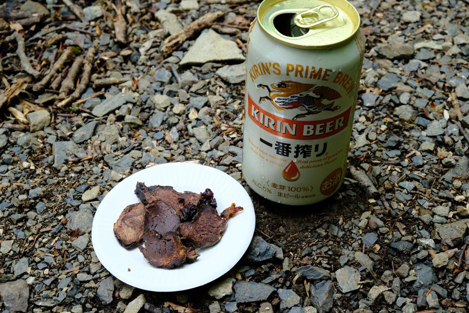 三条の湯の鹿肉の燻製