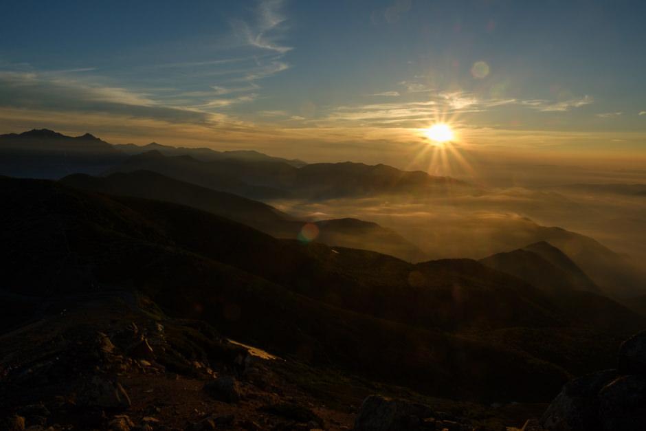 乗鞍岳で迎えた日の出