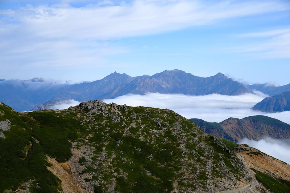 乗鞍岳から見た穂高、槍ヶ岳