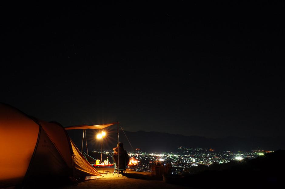 パインウッドオートキャンプ場から見た夜景